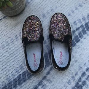 Cat and jack glitter canvas slip on sneakers sz 13